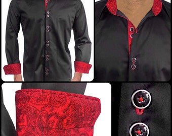Black with Red Paisley Men's Designer Dress Shirt - Made To Order in USA