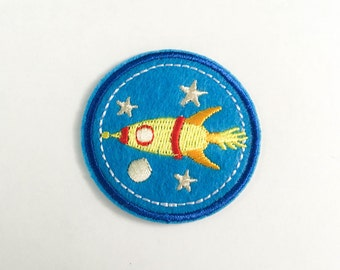 Rocket Iron on Patch (M) - Rocket Logo Iron On Patch Embroidered Applique - Size 4.9cm#T3