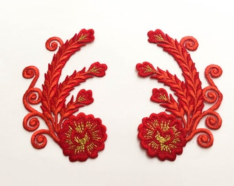 2 pcs Red, Gold Embroidered Flower Patch  / Flower Patch /Embroidered Iron on Patch - Size 6.0 x 9.9 cm