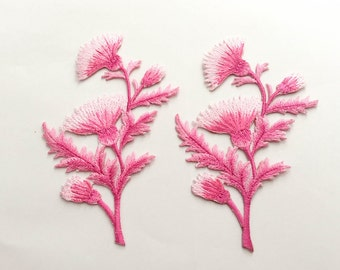 2 pcs Pink Flower Patch  / Embroidered Flower Patch /Embroidered Iron on Patch / Flower Applique-Size 7.5 x 11.5 cm