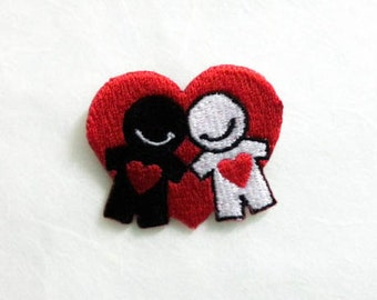Lovely Couple with Heart Iron On Patch\ Valentine Lovely Couple Black and White Red Heart Embroidery Applique (4x3 cm)