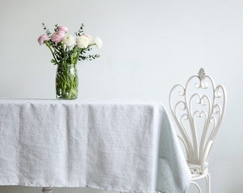 Softened Linen Tablecloth in Light Blue