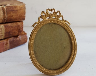 Antique French bronze miniature PICTURE FRAME . Louis XVI style Bow 2.99 inches