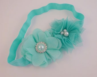 Mint Headband, Baby Headband, Girls Headband, Flower Headband, Newborn Headband, Headbands, Cake Smash Outfit, Photography prop