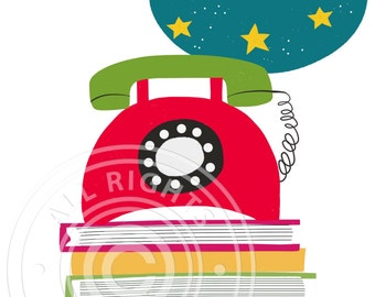 Greeting card retro telephone // vintage phone card