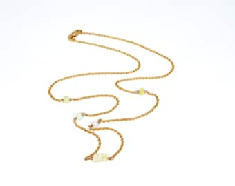 """Opal Pendant Solid Crystal Opal natural opal beads from Australia 9K 9ct yellow 19"""" 49cm chain solid gold 9K 9ct necklace"""