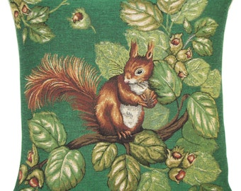 Squirrel Decor Pillow Cover - Chestnut Tree Throw Pillow - Green Pillow - Squirrel Lover Gift - 18x18 Belgian Tapestry Cushion Cover