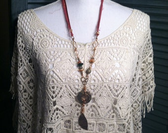Bohemian Necklace-Tribal Necklace-Earthy-Mixed Metal Jewelry-Boho Jewelry-Rustic-Artisan Jewelry-Earthy By Design-Long Necklace