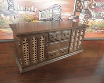 Large Wooden Jewelry Box with Many Drawers and Double Cane Doors Jewelry Chest JB118