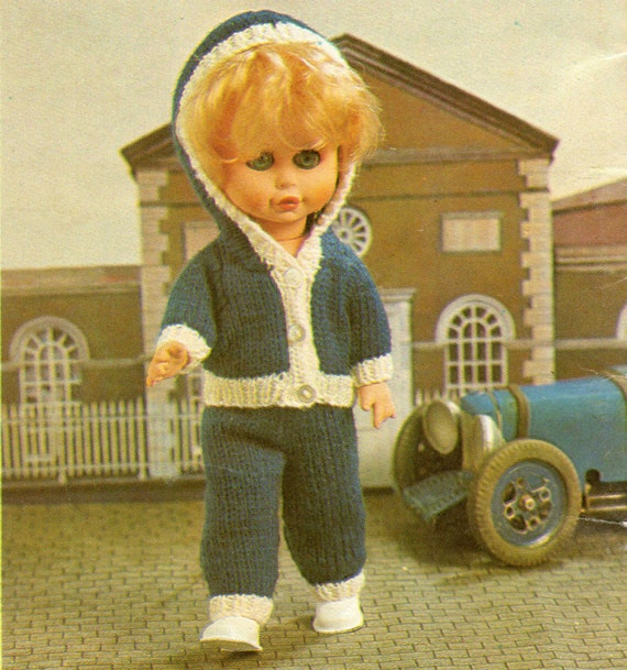 Vintage Knitting Patterns Dolls Clothes : Vintage Dolls Clothes Knitting Pattern Track Suit 12.5 to