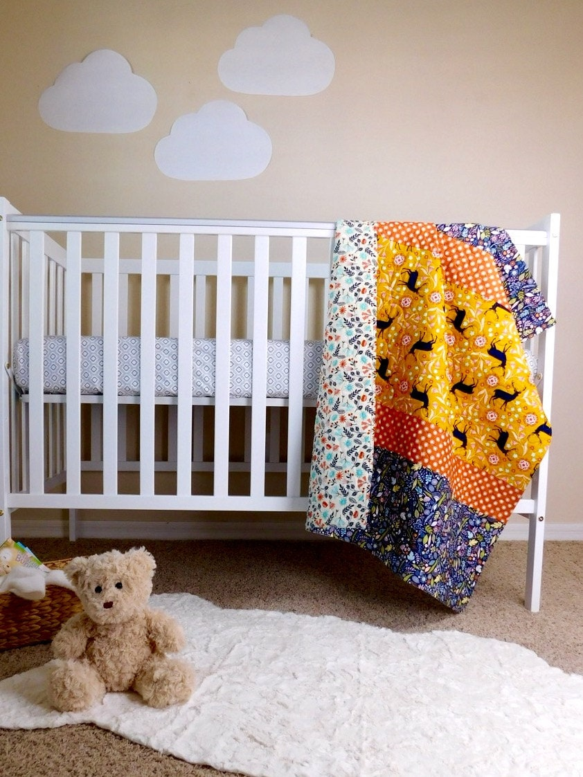 baby girl quilt woodland crib bedding woodland nursery baby. Black Bedroom Furniture Sets. Home Design Ideas