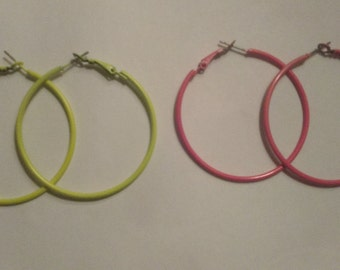 yellow hoop earrings, pink hoop earrings