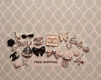 11 pc Choose Black/Silver or White/Silver Set  Designer Inspired Metal Alloy Charms for Nail Art or Crafts *Free Shipping*