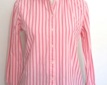 Pink blouse, S, striped blouse, pink top, striped top, cotton blouse, cotton blouse, cotton top, striped top