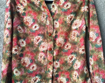 Lightweight floral button front jacket
