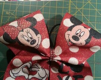 Disney Inspired Micky/Minnie Love Cheer Bow