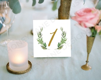 INSTANT Download, Printable Wedding Table Cards, Grecian Wreath, PDF - WCA92
