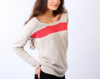 Cashmere blend sweater, Knitted cashmere sweater, Cashmere pullover, Oatmeal color sweater, Loose fit sweater, Cashmere lambs wool viscose