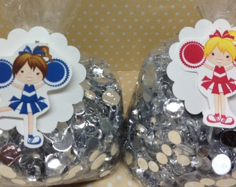 Cheerleader Party Candy or Favor Bags with Tags