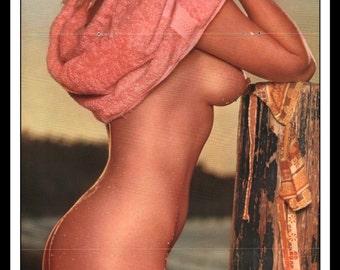 "Mature Playboy March 1964 : Playmate Centerfold Nancy Scott 3 Page Gatefold Spread Photo Wall Art Decor 11"" x 23"""