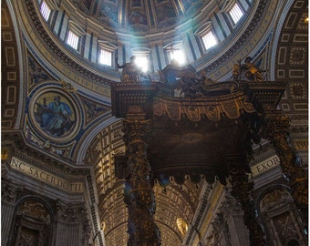 St. Peter's Basilica illuminated with shafts of light.