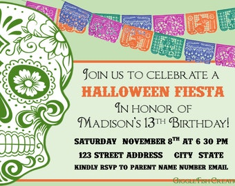 Halloween or Day of the Dead Party Invitation | Digital File