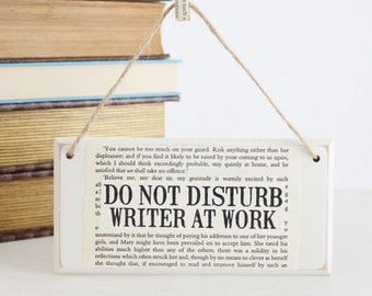 Do Not Disturb Writer At Work ~ Original Wooden Door Sign ~ Gifts for Writers ~ Literary Gift ~ NaNoWriMo ~ Novelist Gift ~ Author Gift