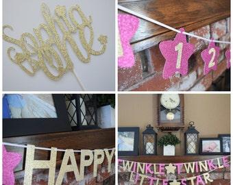 Twinkle Twinkle Little Star 1st Birthday Decor, Gold & Pink Birthday Decor, Birthday Party Pack, Decor, 1st Birthday Decor, Birthday Decor
