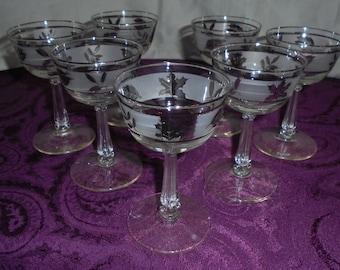 7 Silver leaf, Champagne/Tall Sherbert Glasses
