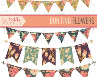 Floral Bunting Banners, Party Bunting, Country Chic Bunting, Shabby Chic Bunting, Digital Bunting, Digital Banner, Floral Digital Bunting