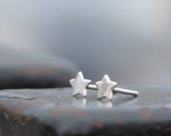 Silver stud earrings - Star earrings - silver star - silver jewelry