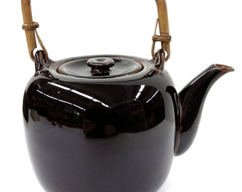 Sale!  Was 175! Hand Thrown Artist Glazed Teapot Bamboo Handle