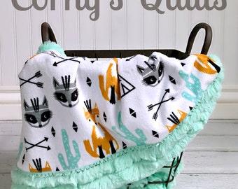Fox Baby Blanket - Tribal Fox and Raccoon Designer Minky Baby Blanket - Mint