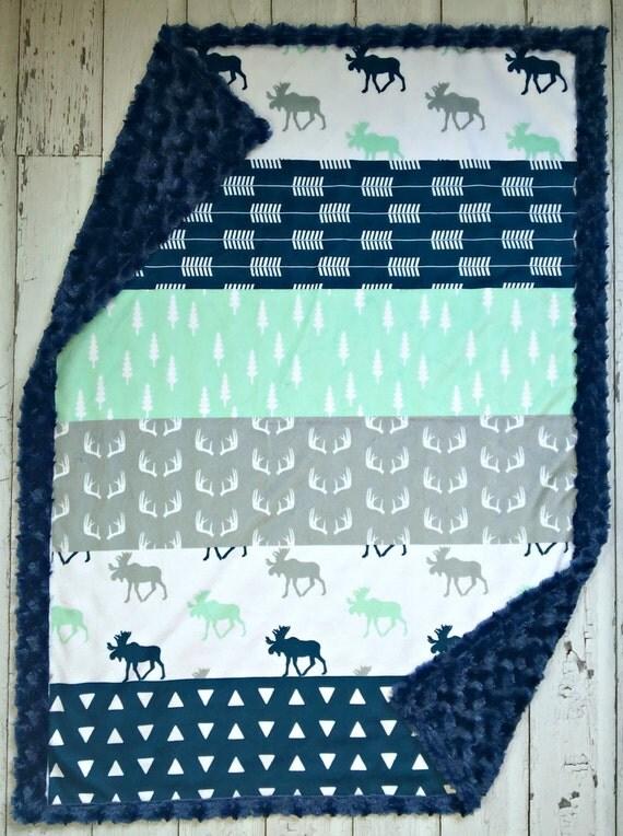 Minky Moose Baby Blanket Desiger Faux Quilt Moose Minky