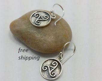 Sterling silver triskele celtic earrings; dangle; drop