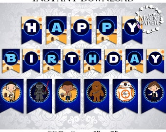 50% OFF SALE Banner Star Wars the Force Awakens Happy Birthday, PDF Instant Download