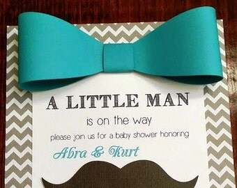 Little Man Baby Shower/Birthday Party Invitations Personalized