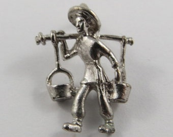 Asian Water Bearer Sterling Silver Vintage Charm For Bracelet