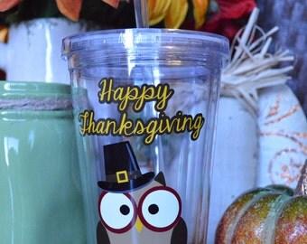 CLEARANCE - Thanksgiving Tumbler, Thanksgiving Gift, Fall Tumbler, Fall Gift