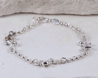 "Sterling Silver 3mm Unique Dog Link Rolo Chain 7.5"" Bracelet • Made in Italy •"