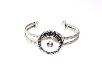 Silver Tone SNAP Bangle Bracelet - 18mm - 20mm Snap Chunks - Ribbed Bangle