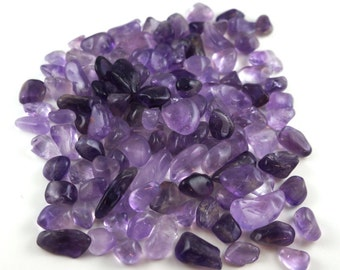 Bag of amethyst tumbled stone various sizes 100 gr