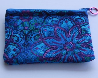 Blue Zippered Coin Purse or Credit Card Purse  3 inch x 4 inch