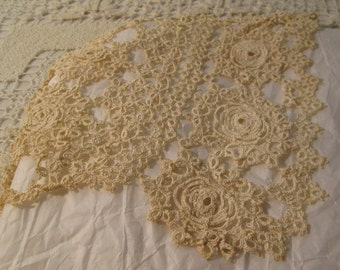 Antique Tatted Lace Christening Bonnet, Hand Tatted Delicate Floral Medallion in Eggshell White Cotton, Baby Cap,Baby Gift Price REDUCED