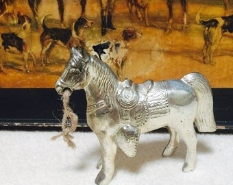 Silver Cast Metal Horse, Carnival Toy Prize, Pot Metal Horse 1950s
