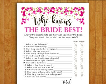 Bridal Shower Game Download - Who Knows the Bride Best - Hot Pink Rose & Gold - DIY Instant Printable Digital How Well Do You Know the Bride