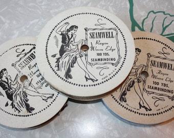 Vintage Sewing Notions: 3 Seamwell Rayon Woven Edge Seam Binding