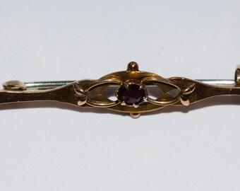Art Nouveau 9ct 9k Yellow Gold Garnet Brooch