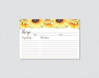 Sunflower Bridal Shower Recipe Cards - Printable Rustic Bridal Shower Recipe Card AND Invitation Insert - Sunflower Recipe Card 0016-A