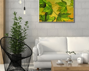 Wall Pictures, Wall Canvas Oil Painting, Landscape Painting, Nature Wall Art, Leaf Art, Landscape Art, Nature Painting - Leaf Painting